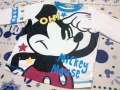 ミッキーマウス長袖・ロンT肩ボタン付サイズ80�p