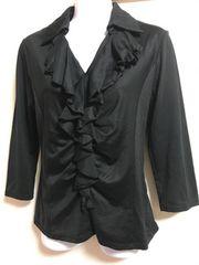 ★base e nuovo 黒×フリル付シャツ  40★