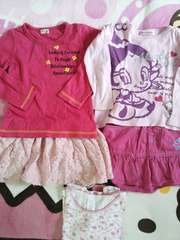 ピンク系♪ロンT×2.スカート×2.キティちゃんのインナー合計5点セット♪