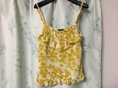 美品イエロー黄色花柄フリルキャミソール