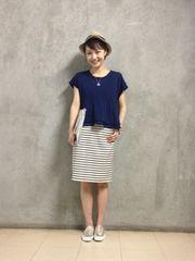 新品!KBF☆ジャガードボーダープリントスカート ベージュone