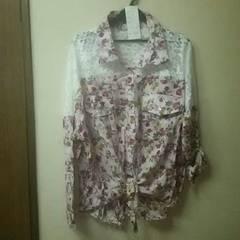 新品★肩レース前縛り花柄シャツ/ピンク/M