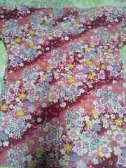☆処分品赤×斜桜吹雪柄ダボシャツS