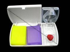 薄型・携帯ピルカッター&ピルケース2個★錠剤お薬入れサプリメントくすり入れ
