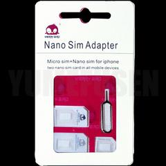nanoSIM microSIM サイズ変換△SIMアダプタ+iPhone用ドライバ 4点セット白