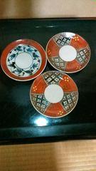 伊万里焼赤絵旋風紋様皿3枚窯印