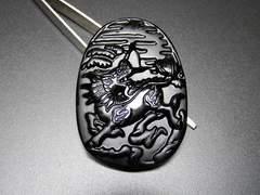 石街麒麟キリン精工彫り幸運御守天然石オブシディアン超大迫力
