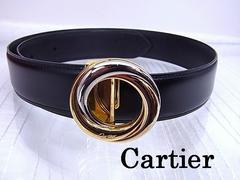 即買い カルティエ Cartier トリニティ レザーベルト 女性用 黒 60〜70cm★dot