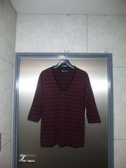 ラウンジリザード〓七分袖ボーダーカットソー〓黒×ボルドー/3〓