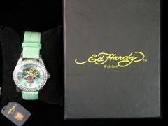 最終セール新品EdHardyエドハーディー★ラインストーンタイガーレザー腕時計グリーン