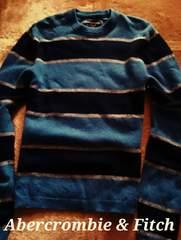 【Abercrombie&Fitch】Vintage 羊毛混 カジュアルウールニットセーター L/Blue