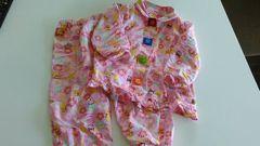女の子100可愛い花柄アンパンマンパジャマ上下セット