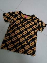 BABY DOLL◆ベビードールロゴロゴTシャツ黒×オレンジ120