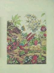 色摺木版画 更紗模様『花に鳥』真作保証