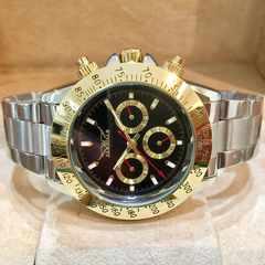 最安値★ロレックスデイトナタイプ★自動巻きクロノグラフ腕時計・黒×金