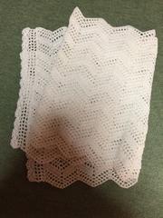 手編み レース編み キラキラホワイト ショール ひざ掛け