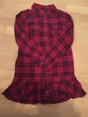 赤チェックミニシャツワンピ チュニック 金具付ロールアップ袖