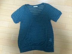 ikka★イッカ★半袖透かしセーター★濃い緑 L