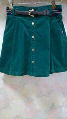 ピンクラテ☆コーデュロイ緑インパン&ベルト付きスカート/160(S)