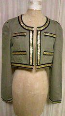 DURAS・デュラスゴールドメタルパイピング&綿コットンノーカラーショート丈ジャケットカーキ