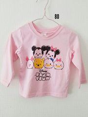 ピンクにツムツム模様、長袖Tシャツ