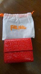 フォリフォリ エナメル二つ折り財布《レッド》新品・未使用品