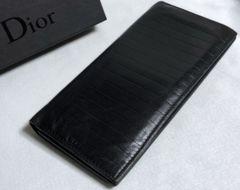 正規良レア Dior Hommeディオールオム CDロゴ×ストライプ長財布黒 小銭入れ有