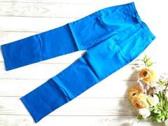 新品 青 ブルー レディース パンツ ストレッチ S 61