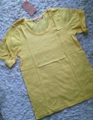 Pink adobe★胸ポケット付きロングTシャツ★イエロー★M★新品★
