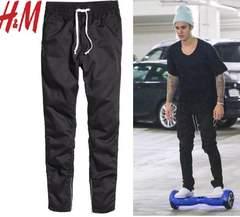 新品 H&M 裾サイドジップ ジョガーパンツ 黒W34 L ジャスティンビーバー