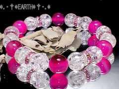 天然石★10ミリクラック爆裂水晶&ピンクアゲ-ト数珠