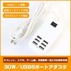USB急速充電器 充電器 コンセント 30W 6ポート USBハブ