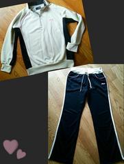 送1円■新品フィラ白トレーニングウェアヨガウエアジャージジムウェアマラソンNIKE&pj&GU似