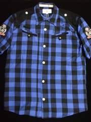 クリアランスセール!送込CAVI★ブロックチェック柄半袖ネルシャツ3XLブルー大きいサイズ