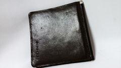 正規美品 激レア バーバリー BURBERRYロゴ×レザーマネークリップ茶 財布 兼用