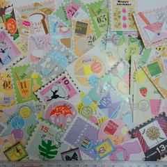 ♪切手風カットシール50枚まとめ売り�A♪コラージュ・ラッピング 雑貨に。