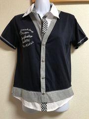 ★フェイクシャツ付×ネイビー 重ね着風カットソー  150★