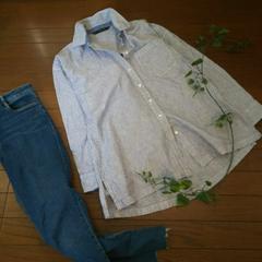 〇ZARA〇サックスブルーのストライプコットンシャツ*・゜