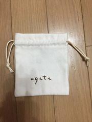アガット agete ミニ巾着 アイボリー ポーチ
