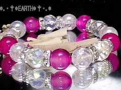 天然石★10ミリピンクアゲ-ト・64面カットアクア水晶・アクアクラック数珠