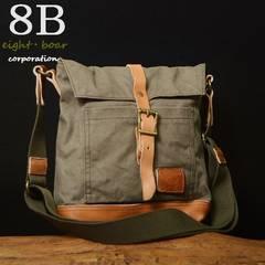 ◆帆布×牛本革 ミリタリービンテージショルダーバッグ◆緑灰b21