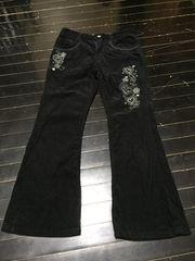 girlsコーディロイパンツ☆可愛い刺繍模様 シンプルブラック