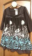 大きいサイズ☆裾フリル付インナーと花柄チュールレースのチュニック2点セット*LL