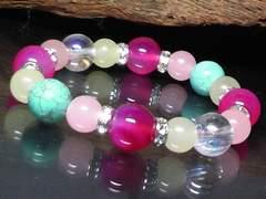 ピンクアゲート・ターコイズ・オーラクリスタル数珠