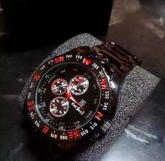 赤ガンメタ★重厚ステンレス製メンズ腕時計クラブフェイス