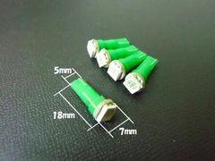 24V T5/T6.5 LED パネル球 メーター球 緑 5個/トラック