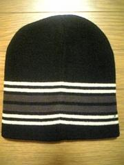 新品 オシャレ!3色ボーダーニット帽 黒 スト系
