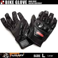 ★硬質プロテクターモデル バイクグローブ 手袋 黒 Lサイズ