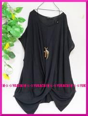 夏新作◆大きいサイズ3Lブラック◆裾ネジレデザイン◆チュニック