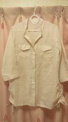 夏の羽織りにもリネン混オーバーブラウス七分袖11号